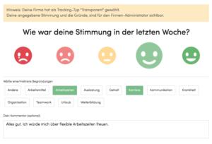 CompanyMood - Abstimmungsmaske Mitarbeiterzufriedenheit