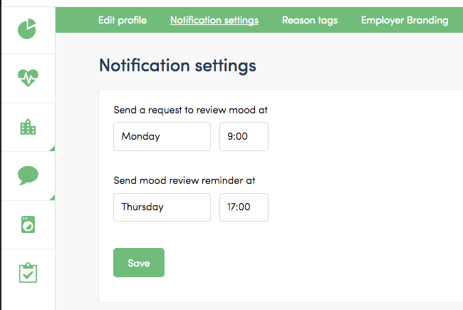 Notification settings employee satisfaction reviews