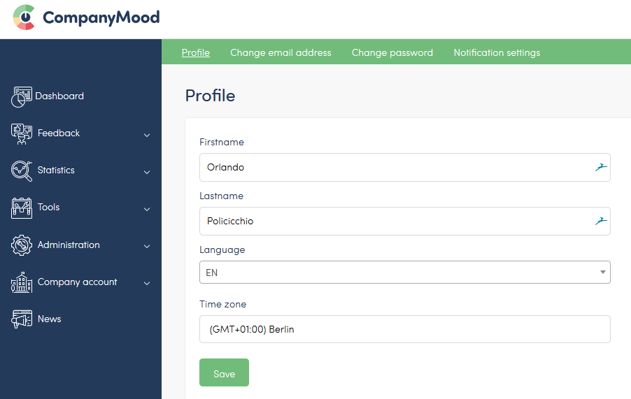 CompanyMood - Screen of language settings for personal accounts