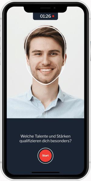 Video-Recruiting im Bewerbungsprozess - Foto der mobilen App von metru